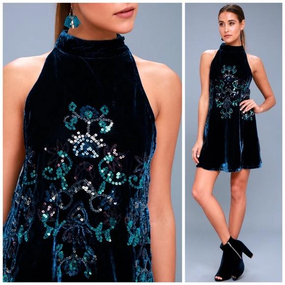 8f415304ae87 Free People Dresses | Nwt Jills Sequin Velvet Swing Dress | Poshmark